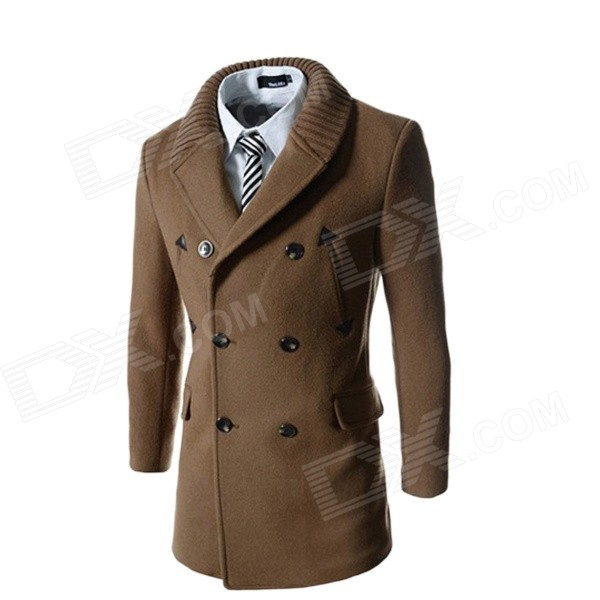 WS755 Men's Autumn and Winter Wear Threaded Collar Double-Breasted Slim Coat - Coffee (L)
