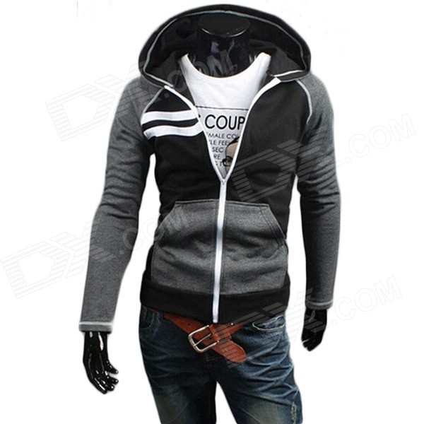 Men's Fashion Casual Stitching Design Leisure Hooded Fleece Coat - Black (XL)