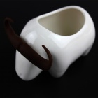 Water Buffalo Style Ceramic + Silicone Flowerpot Plant Pot - White+ Coffee