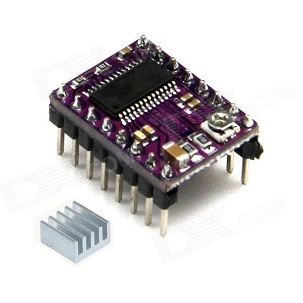 Geeetech StepStick DRV8825 Stepper Motor Driver Carrier - Black3D Printer Parts<br>Form  ColorPurpleBrandGeeetechModelDRV8825Quantity1 DX.PCM.Model.AttributeModel.UnitMaterialCCL + PCB boardEnglish Manual / SpecYesDownload Link   http://www.geeetech.com/wiki/index.php/DRV8825_Motor_Driver_BoardOther Features1. Simple step and direction control interface<br>2. Six different step resolutions: full-step, half-step, 1/4-step, 1/8-step, 1/16-step, and 1/32-step<br>3. Can interface directly with 3.3 V and 5 V systems<br>4. Over-temperature thermal shutdown, over-current shutdown, and under-voltage lockout<br>5. Short-to-ground and shorted-load protection<br>6. 4-layer, 2 oz copper PCB for improved heat dissipation<br>7. Exposed solderable ground pad below the driver IC on the bottom of the PCB<br>8. Module size, pinout, and interface match those of our A4988 stepper motor driver carriers in most respects (see the bottom of this page for more information)<br>9. Adjustable current control lets you set the maximum current output with a potentiometer, which lets you use voltages above your stepper motors rated voltage to achieve higher step rates<br>10. Intelligent chopping control that automatically selects the correct current decay mode (fast decay or slow decay)<br>11. 45 V maximum supply voltage<br>12. Built-in regulator (no external logic voltage supply needed)Packing List1 x DRV8825 driver 1 x Heat sink<br>