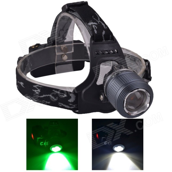 SingFire SF-647G 2-LED 5V USB Zooming White + Green 3-Mode 250lm Hunting Headlamp - Grey (2 x 18650) singfire sf 558g 200lm 4 mode white green led zooming headlight 2 x 18650
