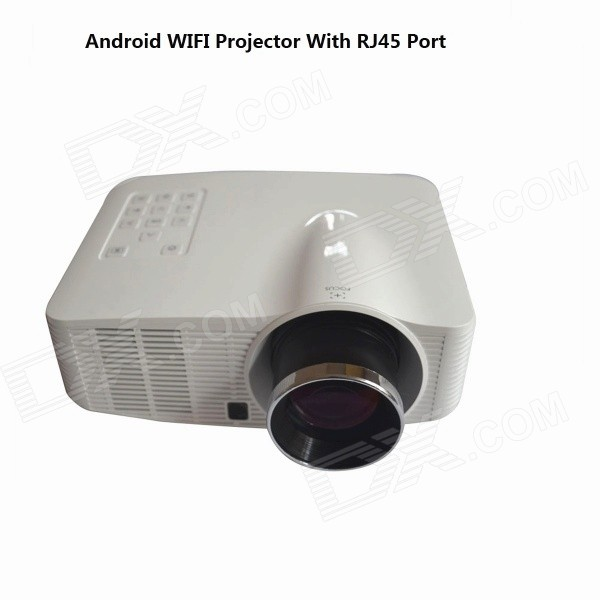Ourspop UR38 1080P Home Wi-Fi Android LED Projector w/ AV / TF / USB / HDMI / RJ45, 4GB ROM - White