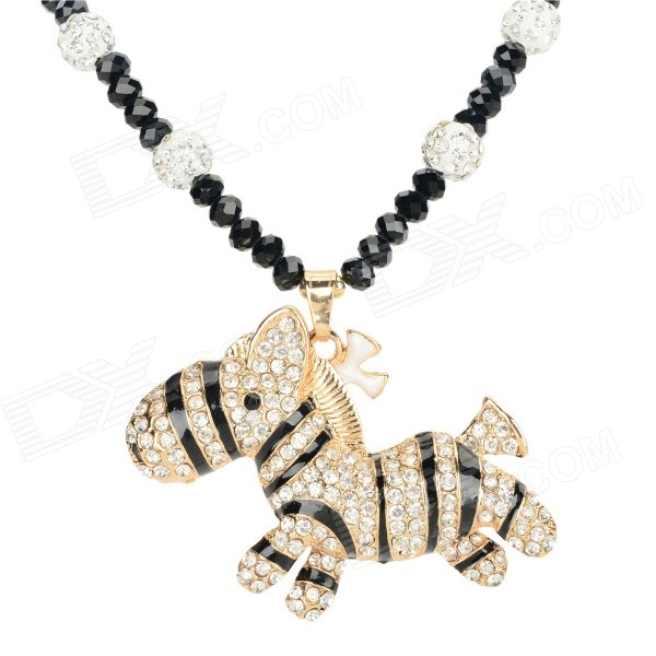 SHIYING W3508 Women's Cute Zebra Style Rhinestone Inlaid Necklace - Black + Golden + Multi-Color fashionable women s sexy style necklace w crystal inlaid golden