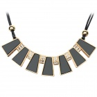 SHIYING X9503 Women's Fashion Sector Style Pendant Necklace - Black + Golden + Multi-Color
