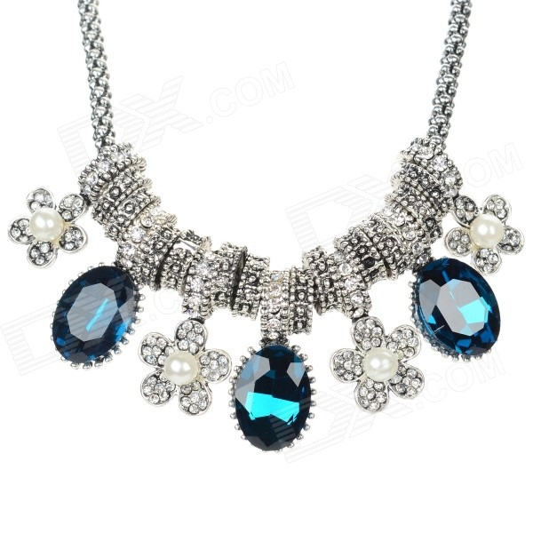 SHIYING X5505 Women's Flower Style Crystal Pendant Necklace - Silver + Blue + Multi-Color shiying women s retro leaf style zinc alloy pendant necklace silver black multi color