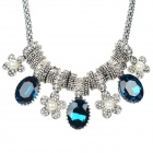 SHIYING X5505 Women's Flower Style Crystal Pendant Necklace - Silver + Blue + Multi-Color