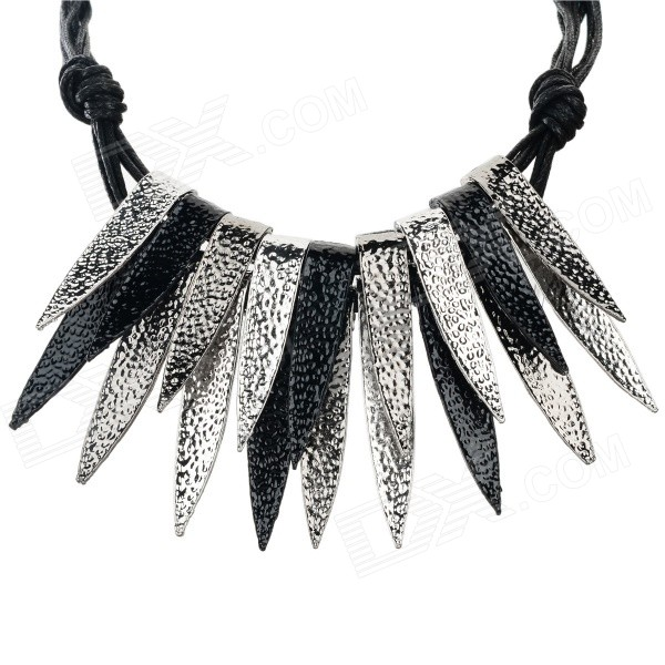 SHIYING Women's Leaf Style Zinc Alloy Pendant Necklace - Black + Silver shiying women s retro leaf style zinc alloy pendant necklace silver black multi color
