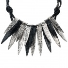 SHIYING Women's Leaf Style Zinc Alloy Pendant Necklace - Black + Silver