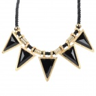 SHIYING X1406 Women's Fashion Triangle Style Necklace - Black + Golden