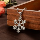 Women's Snowflake Style Rhinestone Inlaid Zinc Alloy Necklace - Silver