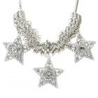SHIYING Women's Fashion Five-pointed Star Style Rhinestone Inlaid Necklace - Silver