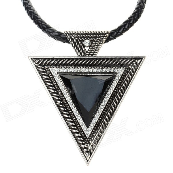 SHIYING Women's Fashion Triangle Style Rhinestone Inlaid Pendant Necklace - Black + Antique Silver gold triangle rhinestone pendant chain necklace for women