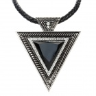 SHIYING Women's Fashion Triangle Style Rhinestone Inlaid Pendant Necklace - Black + Antique Silver