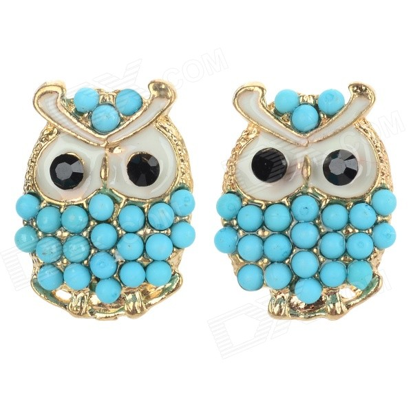 Women's Fashion Owl Style Zinc Alloy Ear Studs - Blue + Golden (Pair)