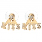 SHIYING W4203 Women's Kiss Style Rhinestone Inlaid Zinc Alloy Ear Studs - Golden + White (Pair)