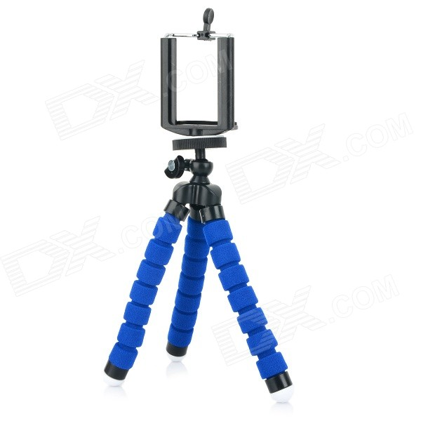 C006 Portable Tripod + Phone Holder + Adapter Set for Cellphone / GPS / GoPro - Black + Blue universal nylon cell phone holster blue black size l