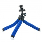 C006 Portable Tripod + Phone Holder + Adapter Set for Cellphone / GPS / GoPro - Black + Blue