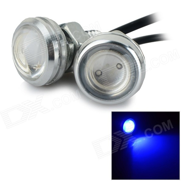 Фото JR-LED 3W 60lm 470nm COB LED Blue Light Lamp w/ Screw Base - Silver + Black (DC 12V / 2 PCS)