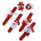 Christmas Theme Bracelet Clap Circle w/ LED Light - White + Red (4 PCS)