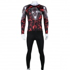 Paladinsport Men's Skull Pattern Long-sleeved Cycling Jersey + Pants Set - Black + Red (Size 3XL)