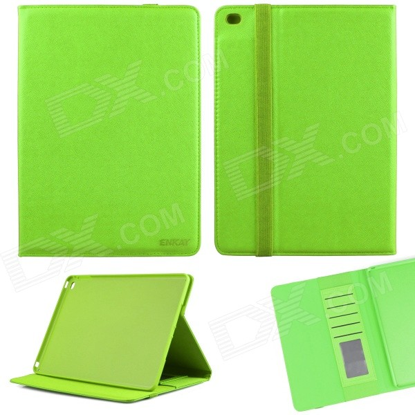 ENKAY Protective Flip Open PU Case w/ Stand / Card Slots / Auto Sleep for IPAD AIR 2 - Green hat prince flower pattern flip open pu case w stand card slots auto sleep for ipad air 2