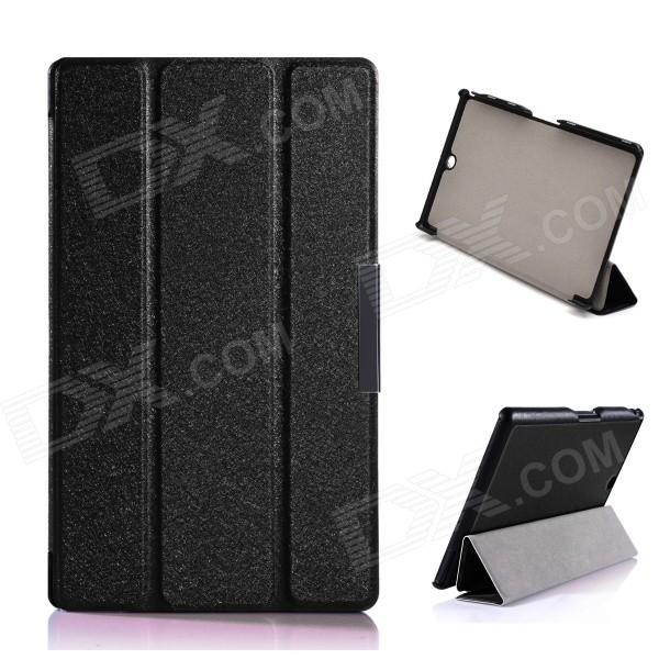 Protective PU Leather + PC Case w/ Stand for Sony Xperia Z3 Tablet Compact - Black for sony z3 case book leather case tablets accessories business cover fundas for sony xperia z3 compact tablet pu stand cases