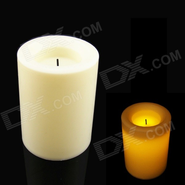 PZCD MY-21 Cylindrical Flicker LED Flameless Decorative Candle - Beige (10cm)