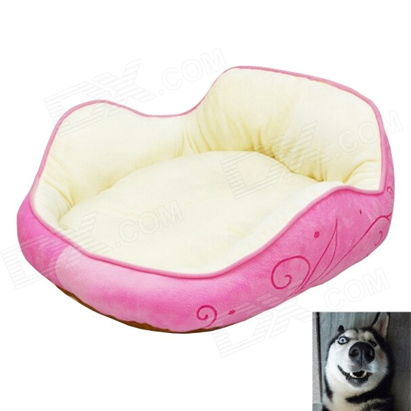 YDL-WJ4005-L Fashionable Short Plush + PP Cotton Bed for Pet Cat / Dog - Pink + Multicolored (L)