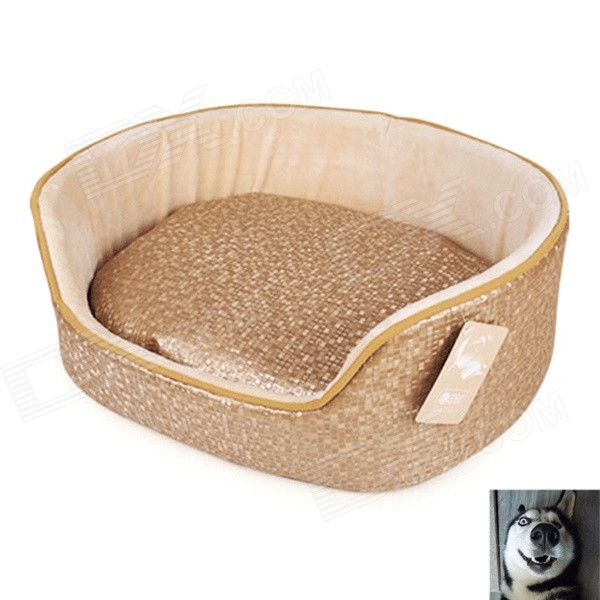YDL-WA4005-L Fashionable Leather + Short Plush + PP Cotton Bed for Pet Cat / Dog - Gold + Beige (L)
