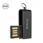 OURSPOP U520 Water Resistant Rotary USB 2.0 Flash Drive Memory Disk - Black (8GB)