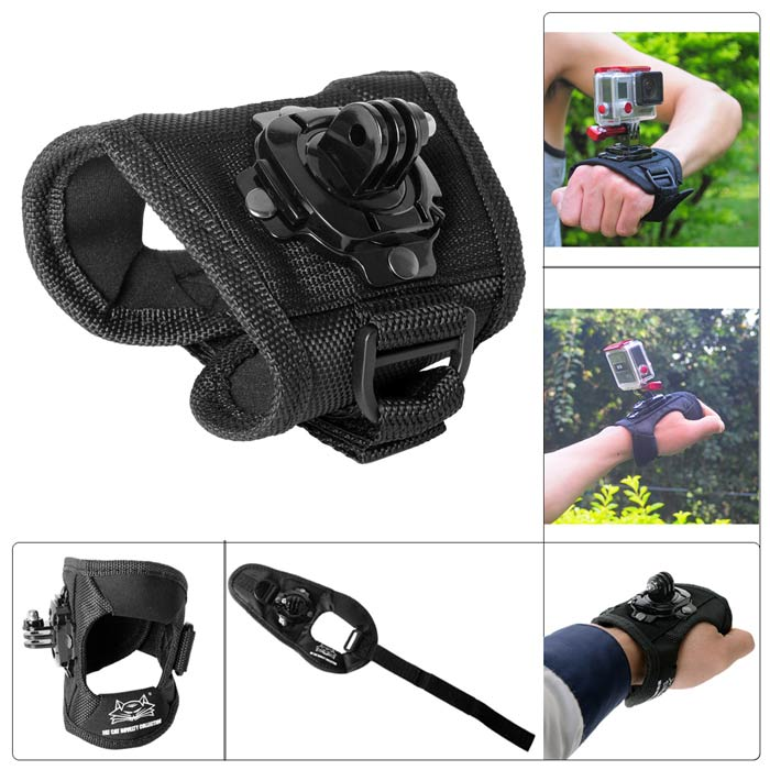 Fat Cat 360 Degree Rotary Hand Palm Mount for GoPro Series / SJ4000 / SJ5000 + More - Black (L)