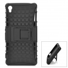 Detachable 2-in-1 TPU + Silicone Back Case w/ Stand for Sony Z3 / L55T - Black