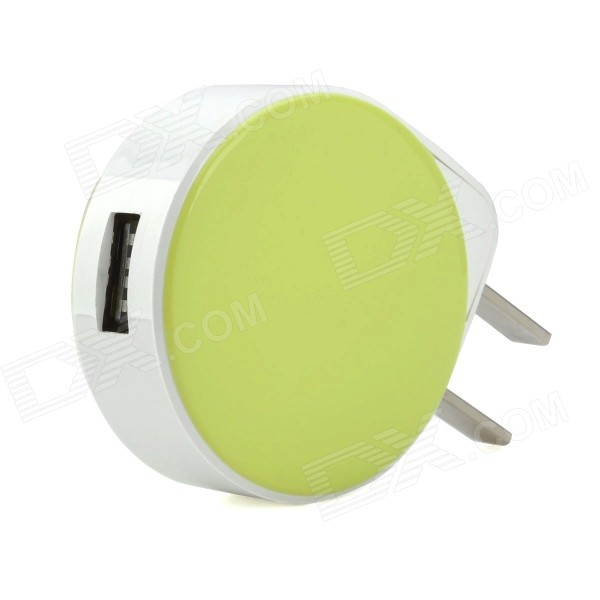 inzc ZNC-032 Universal USB AC Power Adapter - White + Green (US Plug)