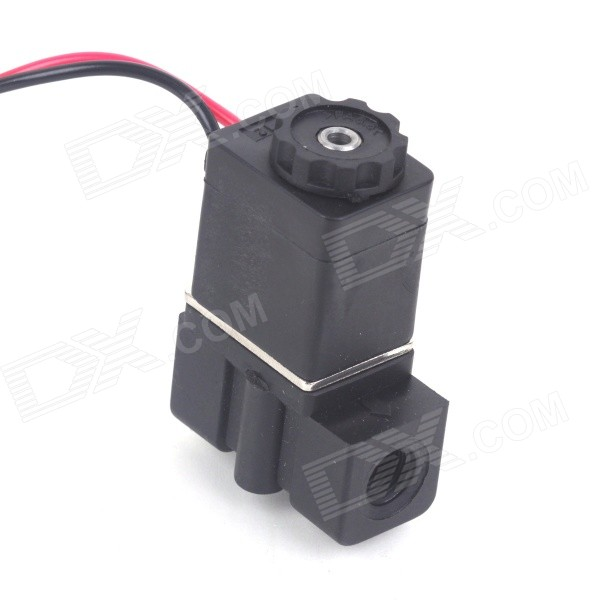 DC 24V 1/8 N/C Plastic Normally Closed Electric Air Gas Water Solenoid Valve - Black free shipping 2pcs lot 1 1 4 electric solenoid valve water air n c 2w350 35 dc24v