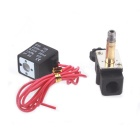 "220V AC 1/8"" N/C Normally Closed Plastic Electric Air Gas Water Solenoid Valve - Black"