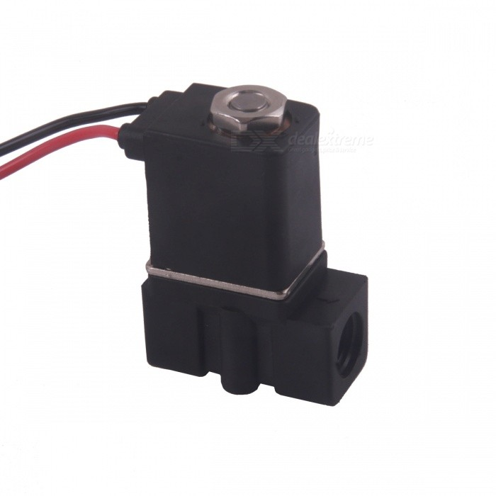 12V DC 1/4 N/C Normally Closed Plastic Electric Air Gas Water Solenoid Valve - Black лампа светодиодная колба gauss g4 2w 2700k 207707102