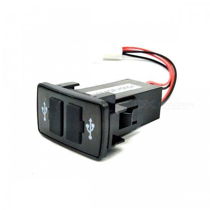 12V~24V to 5V / 2.1A 2-Port USB 2.0 DIY Vehicle Car Power Inverter Converter for Honda - Black