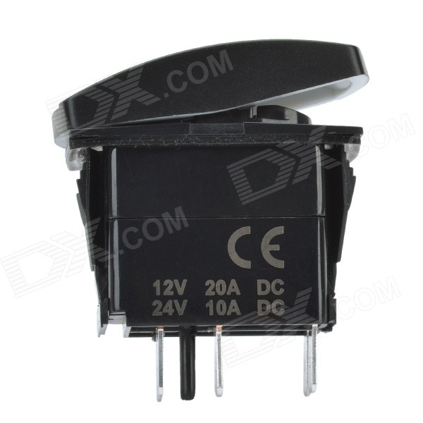 DIY 12V / 24V 5-Pin Water Resistant Wench Power Switch w/ Blue LED Backlight for Car & Yacht - Black