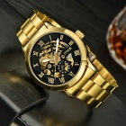 MCE Hollow-Out Style Steel Analog Mechanical Watch for Men - Golden + Black