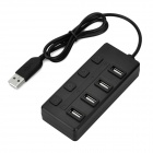 High Speed 480Mbps USB 2.0 4-Port Hub w/ Individual Switch and LED Indicator - Black