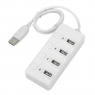 High Speed 480Mbps USB 2.0 4-Port USB Hub w/ Individual Switch - White