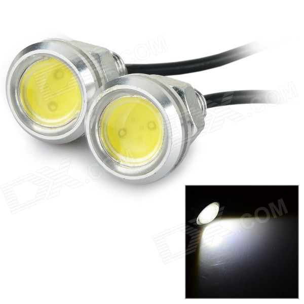 Фото JR-LED 3W 200lm 9000K COB LED Cool White Lamp w/ Screw Base - Silver + Black (DC 12V / 2 PCS)