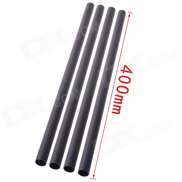 16X14X400MM Hiilikuitu 3K Wing Tube / Tail Tube - Musta (4 PCS)
