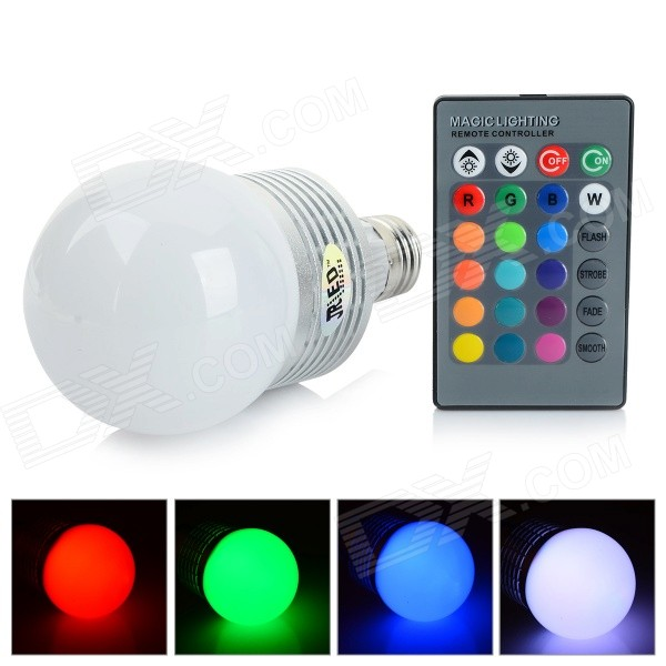 JR-LED E27 10W 500lm LED RGB Light Bulb w/ Remote Control - White + Silver (AC 85~265V) odeon light бра odeon light cruz 2413 1w