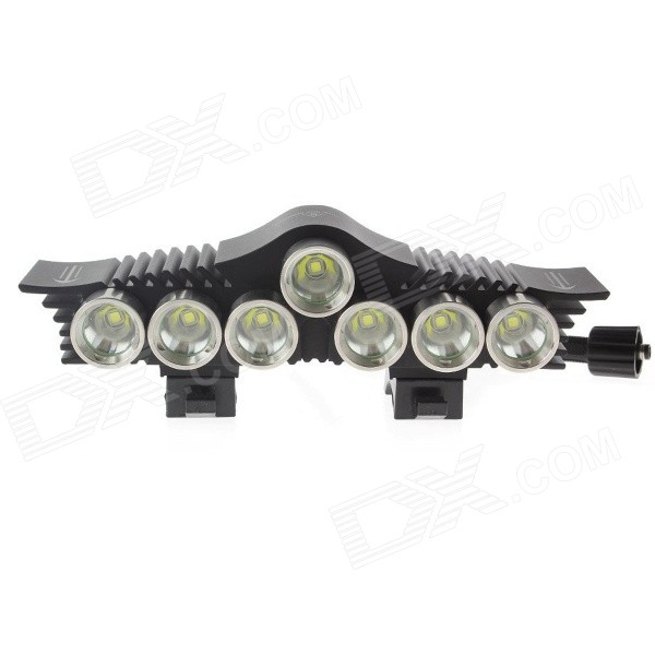 TrustFire TR-D013 7-LED 3-Mode 3000lm Cool White Bike Light - Black + Silver (6 x 18650)
