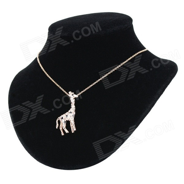 KCCHSTAR Giraffe Pattern Rhinestone-studded Pendant Gold-plated Zinc Alloy Necklace - Gold + Black