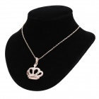 KCCHSTAR Crown Pattern Rhinestone-studded Pendant Gold-plated Zinc Alloy Necklace - Gold