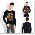 EXPERTEE Men's Wolf & Motorcycle Pattern Round Neck Long Sleeve T-shirt - Black + Multicolor (XL)