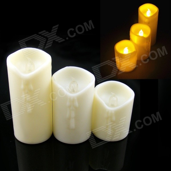 PZCD MY-20 Simulation Candle Flickering Flameless Yellow Light LED Lamp - Beige (9 x AG13 / 3 PCS)