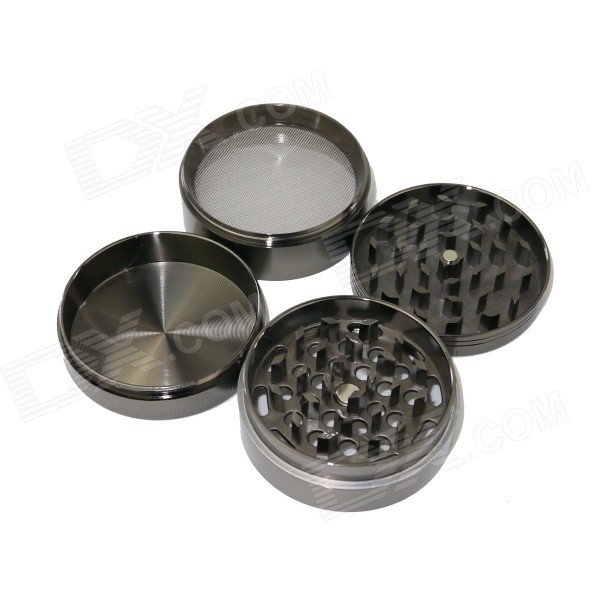 Aluminum Alloy Four-Layer Herb / Spice / Pollen Grinder - Nickel Black